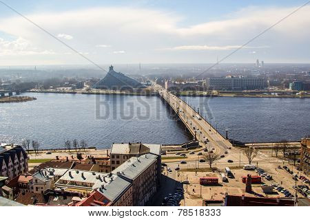 View Of Daugava River, Library And Akmens Bridge. Riga, Latvia
