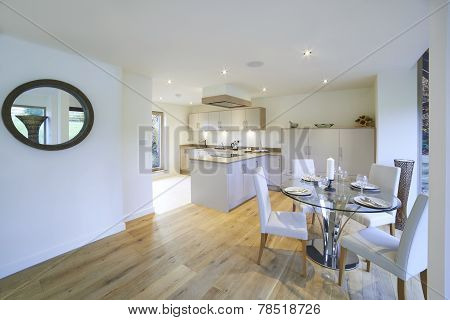 Interior View Of Beautiful Luxury Dining Room And Kitchen