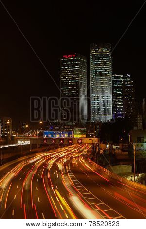 Tel Aviv skyline photo at night
