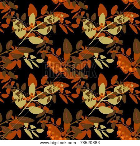 Seamless Background Pattern With Colorful Autumn Leaves And Rowanberry Background Illustration