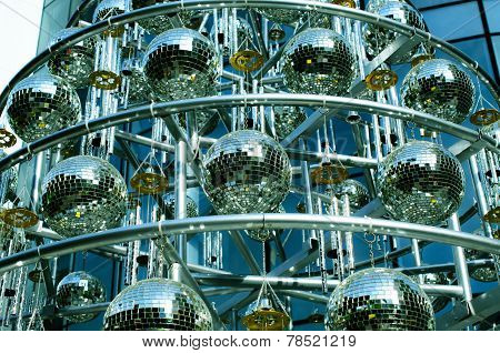 Disco balls background with mirror balls
