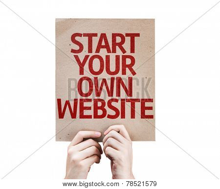 Start Your Own Website card isolated on white background