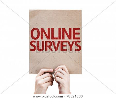 Online Surveys card isolated on white background