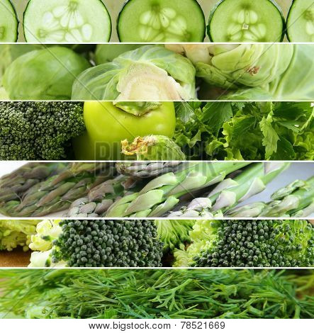 collage of different green vegetables ( peppers, asparagus,cucumbers, cabbage)
