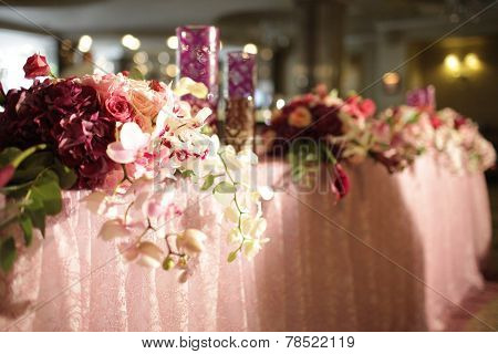 Wedding served decorated tables