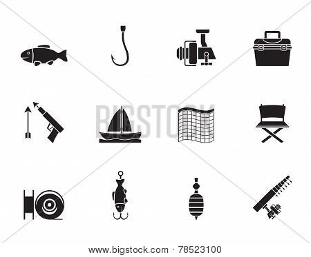 Silhouette Fishing and holiday icons