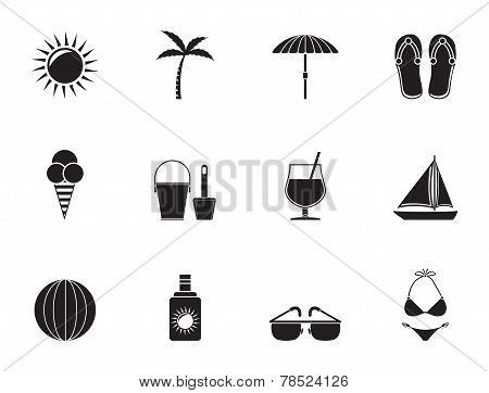 Silhouette Summer, Holiday and beach objects