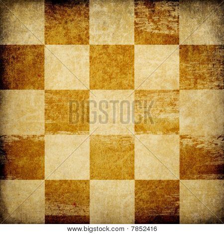 Grungy Chessboard Stained Background.