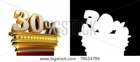 Thirty percent figure on a golden platform with brilliant lights over white background with alpha map