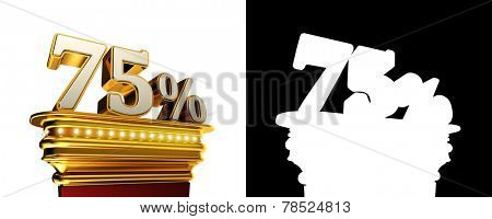 Seventy five percent figure on a golden platform with brilliant lights over white background with alpha map
