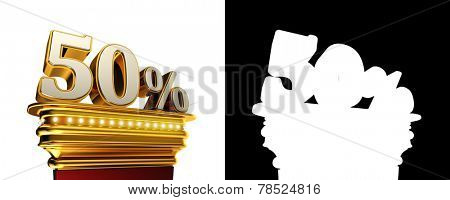 Fifty percent figure on a golden platform with brilliant lights over white background with alpha map