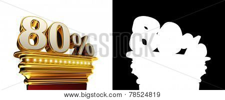 Eighty percent figure on a golden platform with brilliant lights over white background with alpha map