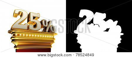 Twenty five percent figure on a golden platform with brilliant lights over white background with alpha map
