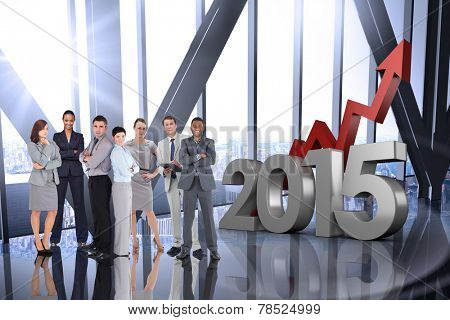 Business people against room with large window looking on city