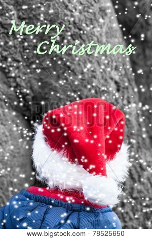 Winter Christmas Imp with red pointed Hat and textual Christmas Wish