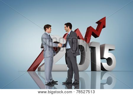 Businessmen shaking hands against purple vignette