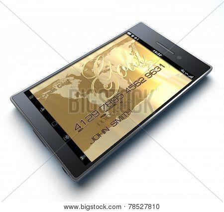 3D rendering with a smart phone being used as credit card