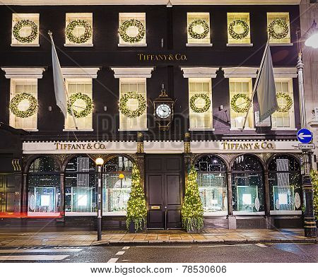 London, England - 13 November 2014 Tiffany shop on New Bond Street decorated for Christmas