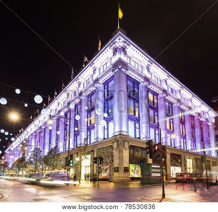 London, England - 13 November 2014 Selfridges, Oxford Street, decorated for Christmas and New 2015 Y
