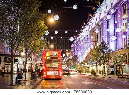 London, England - 13 November 2014 Selfridges, Oxford Street, decorated for Christmas and New 2015