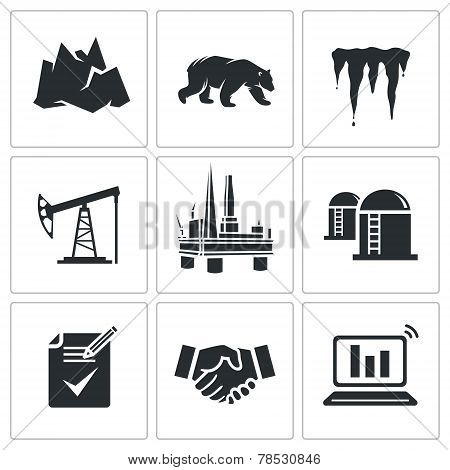 Oil Production In The Arctic Vector Icons Set