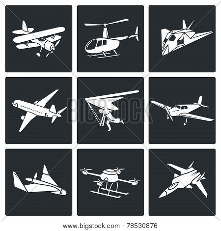 Aaircrafts Vector Icons Set