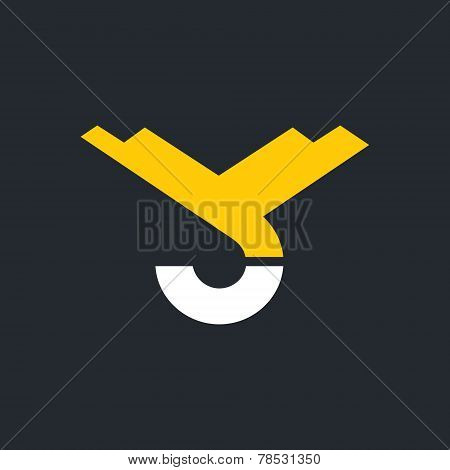 Vector Hook Of A Crane, Hoist Sign, Monogram The Letters V And C