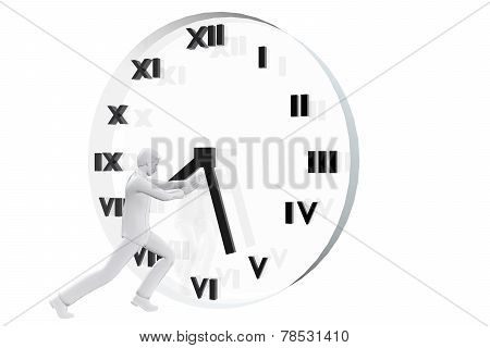 Businessman Fighting Against Time
