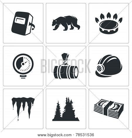 Gas Transit Vector Icons Set