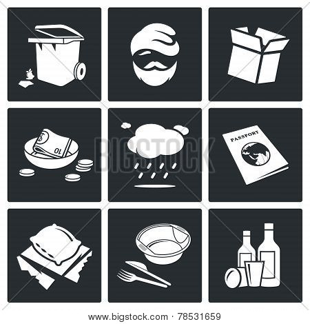 Social Phenomenon Homeless Vector Icons Set