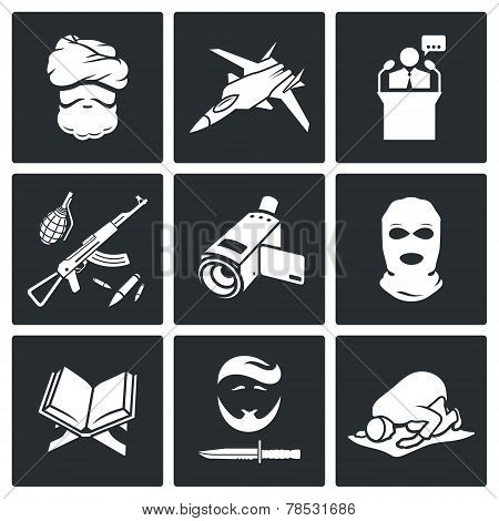 Terrorism Vector Icons Set