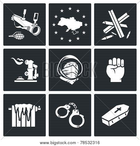 European Integration Of Ukraine Vector Icons Set