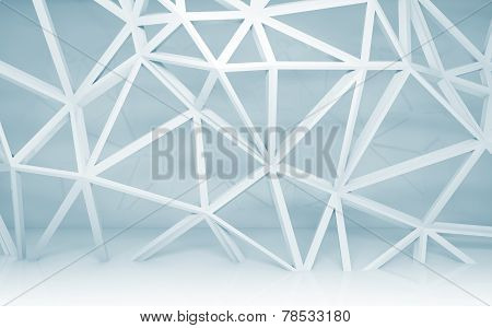 Abstract White Room Interior With 3D Wire Frame Construction