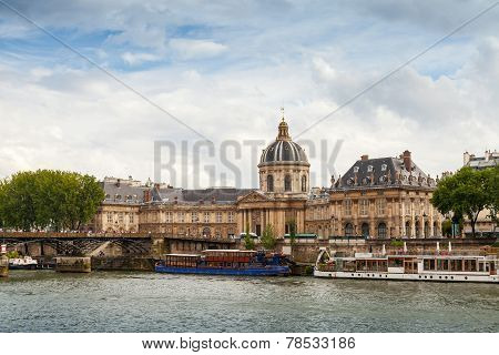Seine River Coast With Facade Of Institute De France In Paris