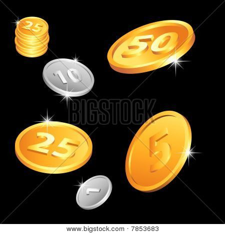 Golden and silver coins