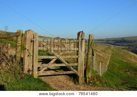 Countryside gate on the Sussex Southdown's.