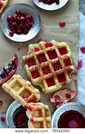 Sweet Waffle With Pomegranate