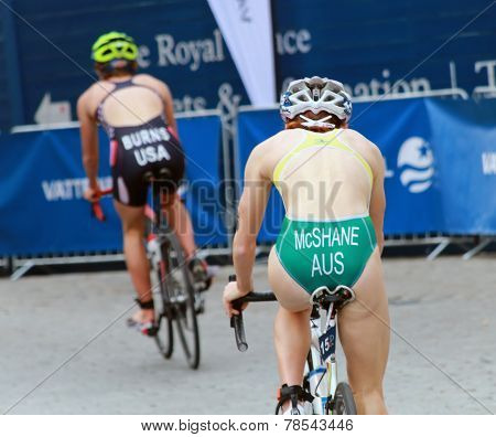 Mcshane And Burns Cycling In The Triathlon Event