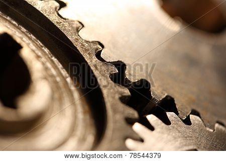Three Steel Cogwheels In Connection