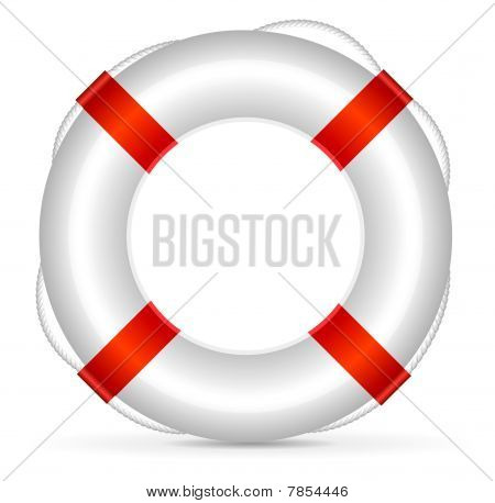Realistic lifebuoy on white background