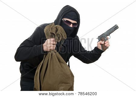 Hooded Robber With A Gun And A Bag Of Money