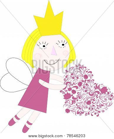 Princess with heart vector vector illustration