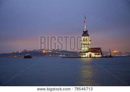 Maiden's Tower At The Evening In Istanbul Turkey 2014
