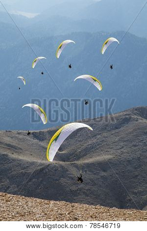 Illustrated Paragliders Flying Against Tahtali Mountain Near Antalya 2014