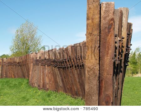 A wall from old railroad sleepers
