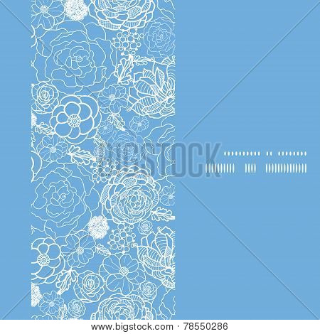 Vector purple lace flowers vertical frame seamless pattern background