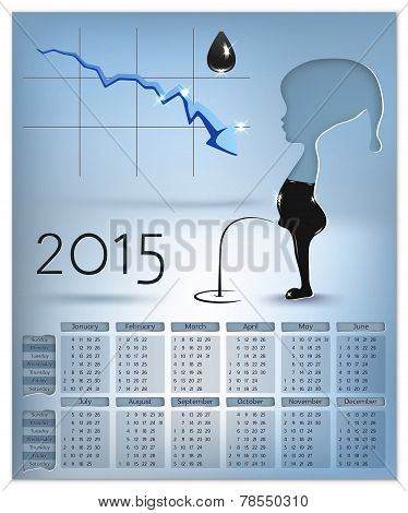 Calendar With Schedule Of Falling Prices Per Barrel Of Oil On 2015 In Vector Infographic