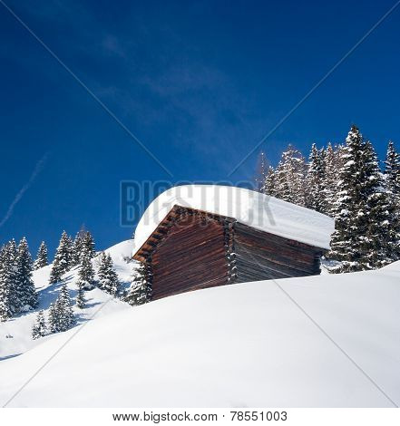 Lonely hunting snowbound lodge