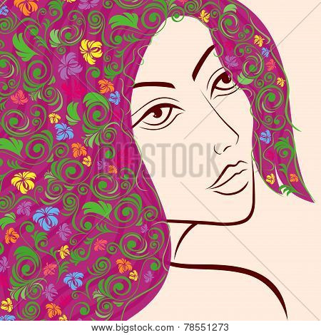 Women Head With Floral Hair