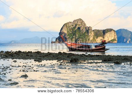 Boat On Beach In Evening
